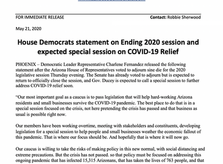 PRESS RELEASE: House Dems statement on Ending 2020 session and expected special session on COVID-19