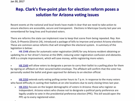 Rep. Clark's 5 point plan for election reform poses a solution for Arizona voting issues