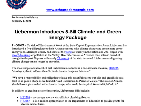 PRESS RELEASE: Lieberman Introduces 5-Bill Climate and Green Energy Package