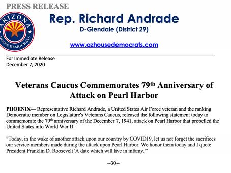 PRESS RELEASE: Veterans Caucus Commemorates 79th Anniversary of Attack on Pearl Harbor
