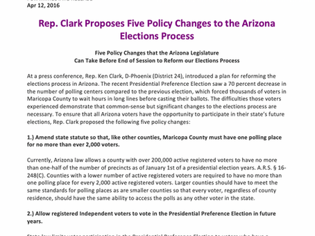 Rep. Clark proposes five policy changes to AZ election process