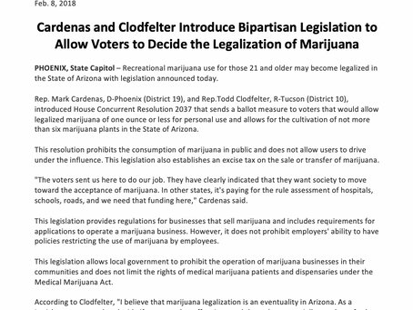 Cardenas and Clodfelter Introduce legislation: voters to decide the legalization of marijuana