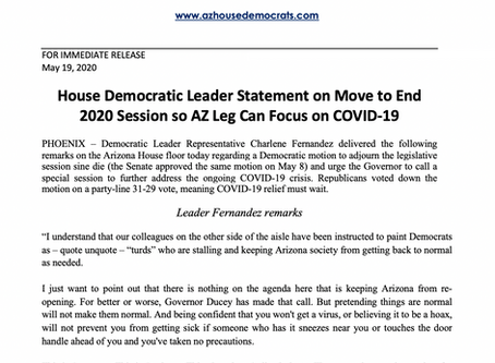 PRESS RELEASE: Statement on Move to End 2020 Session so AZ Leg Can Focus on COVID-19