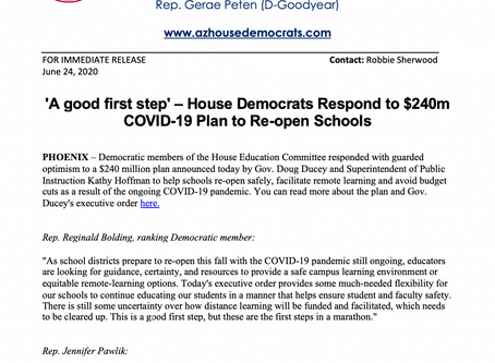 PRESS RELEASE: 'A good first step' - House Dems Respond to $240m COVID-19 Plan to Re-open Schools