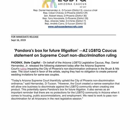 'Pandora's box for future litigation' -- AZ LGBTQ Caucus statement on SC non-discrimination ruling