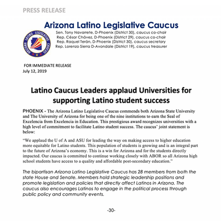 Latino Caucus Leaders applaud Universities for supporting Latino student success