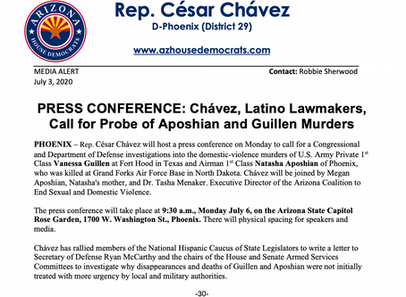 PRESS CONFERENCE: Chavez, Latino Lawmakers, Call for Probe of Aposhian and Guillen Murders