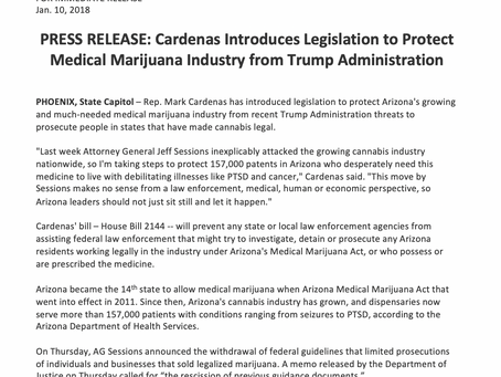 Cardenas Introduces Legislation to Protect Medical Marijuana Industry from Trump Admin.