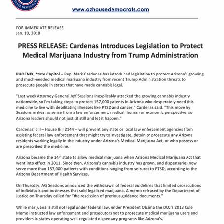 Cardenas Introduces Legislation to Protect Medical Marijuana Industry from Trump Admin.