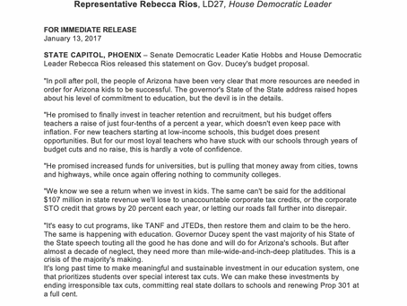 Democrats ready to work on real investments for our schools