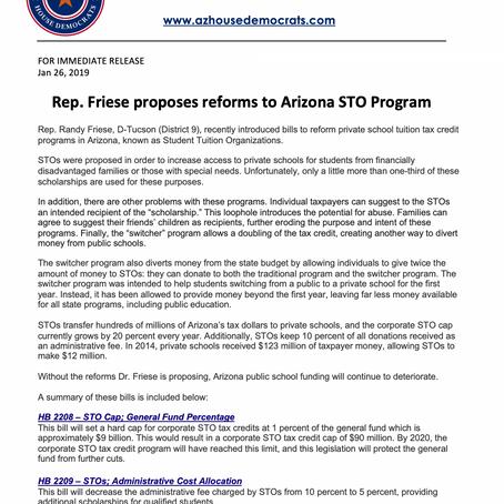 Rep. Friese proposes reforms to Arizona STO Program