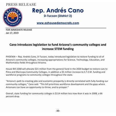 Rep. Andrés Cano: Community College Funding