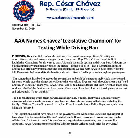 PRESS RELEASE: AAA Names Cesar Chávez 'Legislative Champion' for Texting While Driving Ban