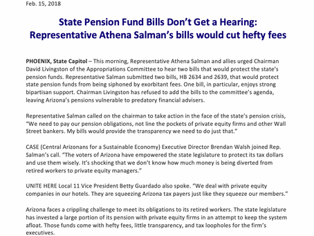 State Pension Fund Bills Don't Get a Hearing: Rep. Salman's bills would cut hefty fees