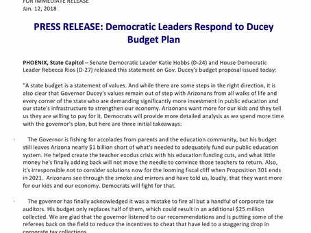 Democratic Leaders Respond to Ducey Budget Plan