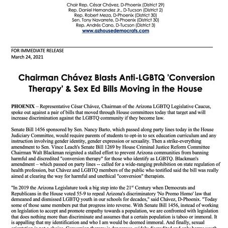 PRESS RELEASE: Chairman Chávez Blasts Anti-LGBTQ 'Conversion Therapy' & Sex Ed Bills in the House