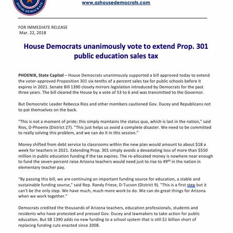 House Democrats unanimously vote to extend Prop. 301 public education sales tax