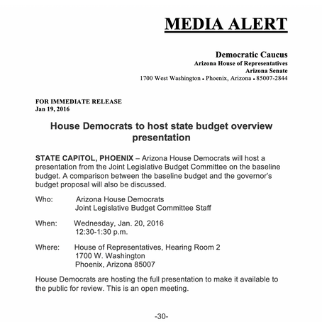 MEDIA ALERT: State budget overview presentation