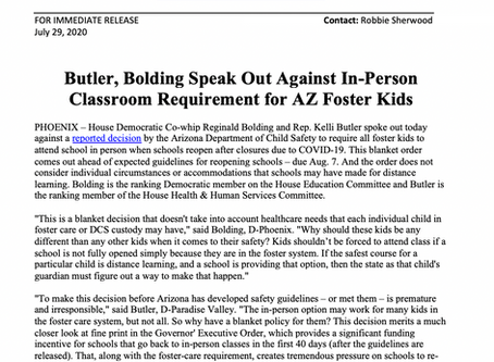 PRESS RELEASE: Butler, Bolding Speak Out Against In-Person Classroom Requirement for AZ Foster Kids