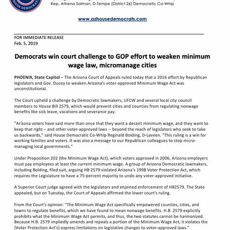 Democrats win court challenge to GOP effort to weaken minimum wage law