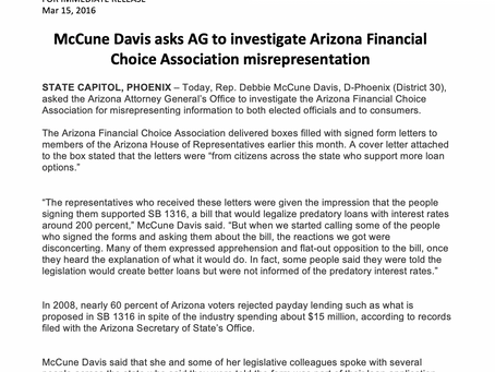 McCune Davis asks AG to investigate Arizona Financial Choice Association misrepresentation