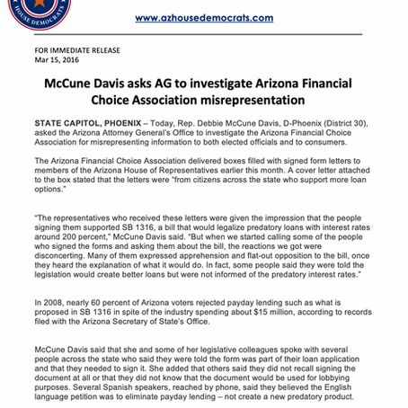 McCune Davis asks AG to investigate Arizona Financial Choice Association misrepresentation