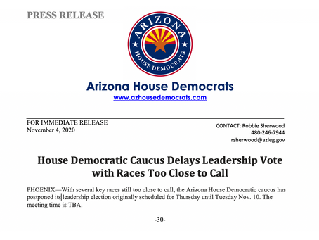 PRESS RELEASE: House Democratic Caucus Delays Leadership Vote w/ Races Too Close to Call