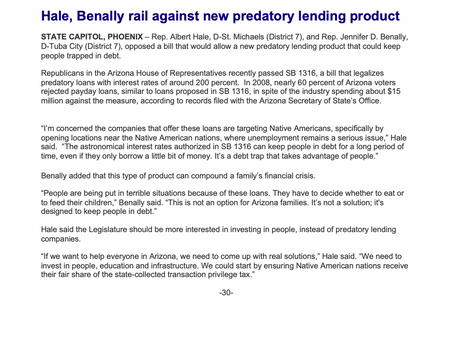 Hale, Benally rail against new predatory lending product