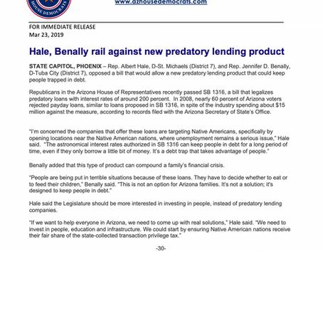 Hale, Benally rail against new predatory lending product