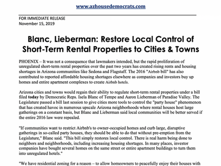 PRESS RELEASE: Blanc, Lieberman: Restore Local Control of Short-Term Rentals to Cities and Towns