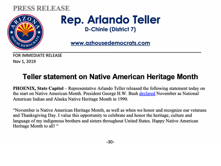 Teller statement on Native American Heritage Month