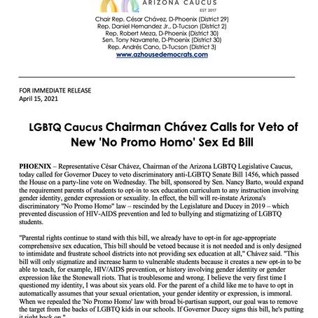PRESS RELEASE:  LGBTQ Caucus Chairman Chávez Calls for Veto of New 'No Promo Homo' Sex Ed Bill