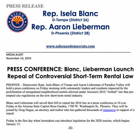 MEDIA ALERT: Press Conference: Blanc, Lieberman Launch Repeal of Controversial Short-Term Rental Law