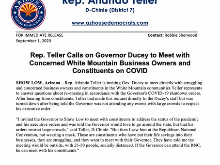 PRESS RELEASE: Rep. Teller Calls on Gov Ducey to Meet with Concerned White Mountain Business Owners