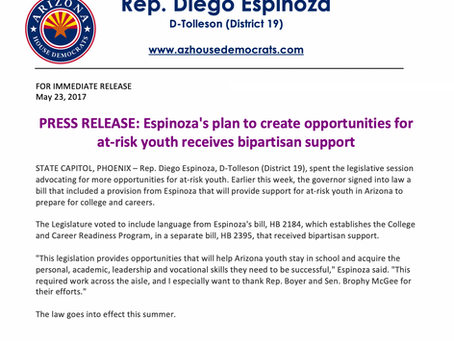 Espinoza's plan to create opportunities for at-risk youth receives bipartisan support
