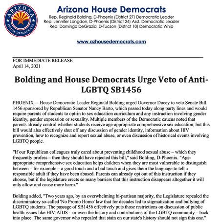 PRESS RELEASE: Bolding and House Democrats Urge Veto of Anti-LGBTQ SB1456