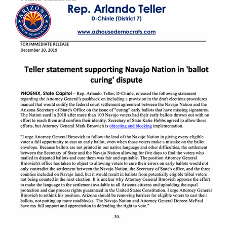 PRESS RELEASE: Teller statement supporting Navajo Nation in 'ballot curing' dispute