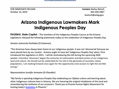 PRESS RELEASE: Arizona Indigenous Lawmakers Mark Indigenous Peoples Day