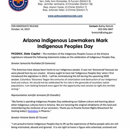 PRESS RELEASE: Arizona Indigenous Lawmakers Mark Indigenous Peoples Day