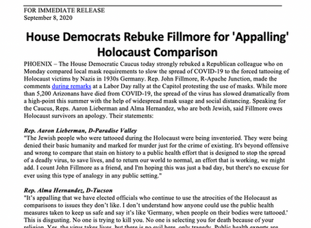 PRESS RELEASE: House Democrats Rebuke Fillmore for 'Appalling' Holocaust Comparison