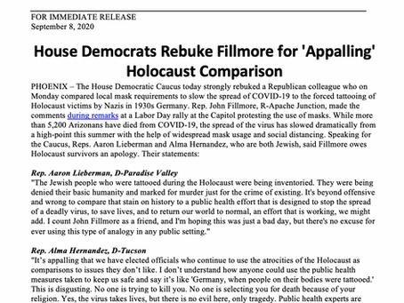 PRESS RELEASE: House Democrats Rebuke Fillmore for 'Appalling' Holocaust Comparison