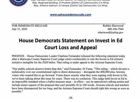 PRESS RELEASE: House Democrats Statement on Invest in Ed Court Loss and Appeal