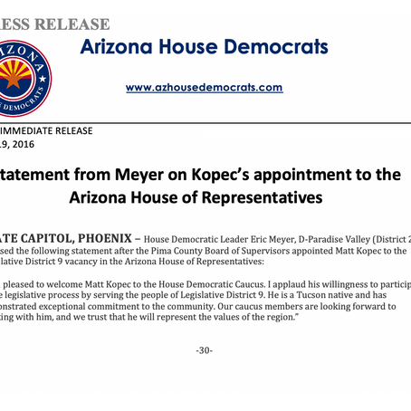 Statement from Meyer on Kopec's appointment to the Arizona House of Representatives