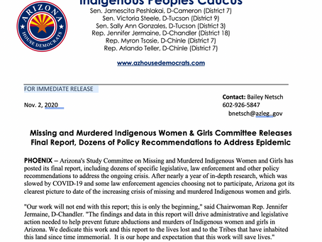 PRESS RELEASE: Missing and Murdered Indigenous Women & Girls Committee Releases Final Report
