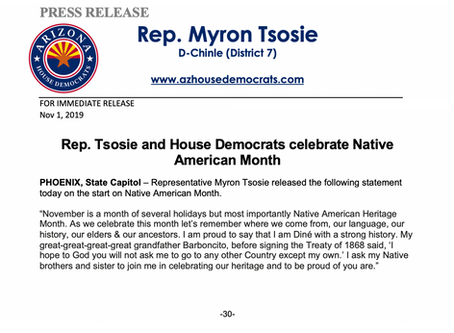 Rep. Tsosie and House Democrats celebrate Native American Month
