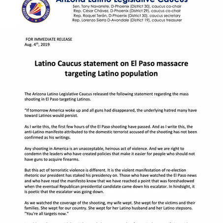 Latino Caucus statement on El Paso massacre targeting Latino population