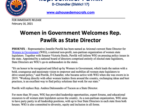 PRESS RELEASE: Women in Government Welcomes Rep. Pawlik as State Director