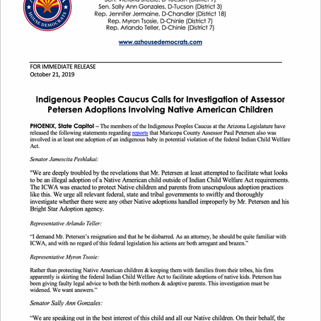 PRESS RELEASE: Indigenous Peoples Caucus Calls for Investigation of Assessor Petersen Adoptions
