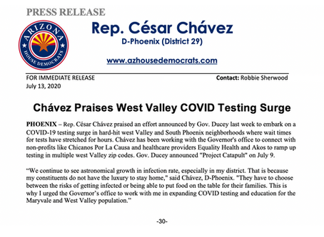 PRESS RELEASE: Chavez Praises West Valley COVID Testing Surge