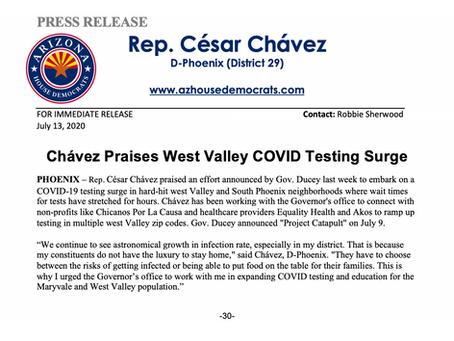 PRESS RELEASE: Chavez Praises West Valley COVID Testing Surge